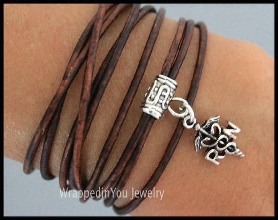 RN Registered Nurse Boho LEATHER Wrap Bracelet - Adjustable Triple Wrap Medical Care Charm Bangle Bracelet - USA - 736