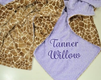 Personalized Minky Baby Blanket - Cappuccino Baby Giraffe Minky - Lavender Minky Dot - Custom Baby Blanket - Monogram