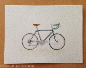 Custom Bicycle Portrait, a Watercolor Illustration of Your Bike *Celebrate Bike Month*