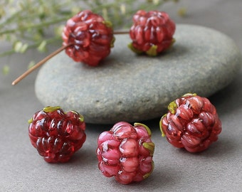 Lampwork Raspberries, Glass Lampwork Beads, Realistic Glass Fruit Bead, Glass Berries, Lampwork Raspberries, Glass Raspberries, Handmade