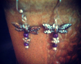 Purple Dragonfly Earrings, Jewelry, Dragonflies