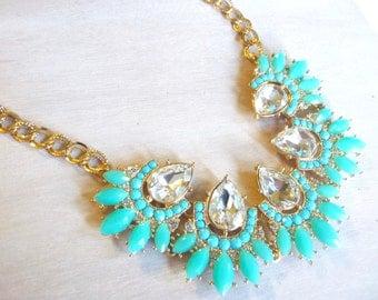 Aqua Mint Turquoise Clear Teardrop Crystal Beaded Bib Statement Necklace.  New Mexico Jewelry.  Beaded Necklace.  Aqua Necklace.  Turquoise