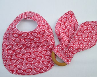 Pink Glasses Baby Gift Set, Baby Bib and Organic Teether Set, Ready to Ship, glasses, cateye glasses, baby nerd