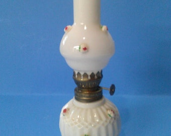 Antique Miniature Oil Lamp Milk Glass with Roses