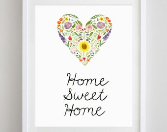 Home Sweet Home Heart Floral Watercolor Art Print