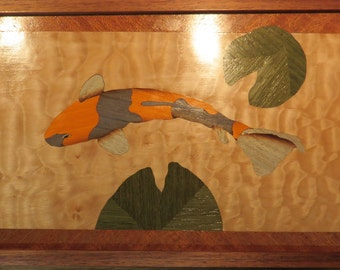 Koi Marquetry Box with Lilly Pads