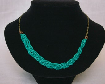 Turquoise Braided Bead and Chain Necklace