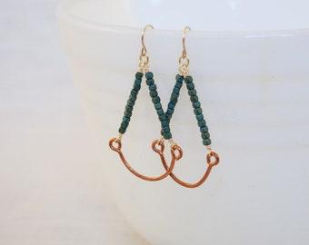 Teardrop Beaded & Hammered Copper Wire Earrings
