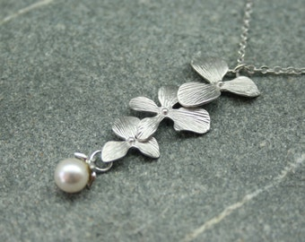 Orchid and pearl necklace, bridal necklace, swarovski pearl necklace, bridesmaid necklace, long flower and pearl necklace, wedding jewellery
