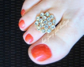 Toe Ring - Gold - Crystals - Slider Stretch Bead Toe Ring