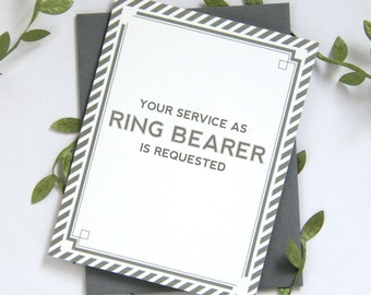 Will You Be My Ring Bearer Card | bridal party card wedding party card | Grey, Navy or Black