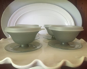 Vintage Tupperware Dessert Pudding Custard Jello Dishes/Cups in Smokey Grey 754 and 733 - Sold Individually