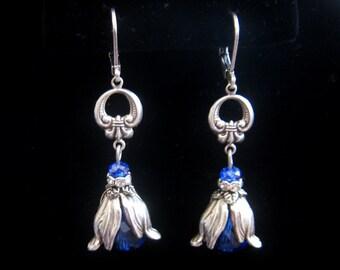 Victorian Art Nouveau Vintage Style Cobalt Sapphire Blue Bead Dangle Earrings Dramatic Leaf Antique Sterling Silver Plated Lever Back