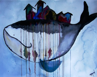 City of Whales Watercolor REPRODUCTION PRINT