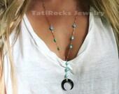 Badlands Tusk Necklace, Tusk Necklace, Bone Tusk, Turquoise Lariat Necklace, Sleeping Beauty Turquoise