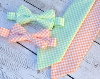 Groomsmen bow tie, boys mint necktie, peach tie, ring bearer outfit, wedding bow ties, mint bow tie, peach bow tie, boys wedding outfit