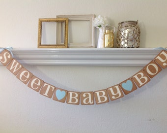 Sweet Baby Boy Banner Baby Shower Banner Pregnancy Announcement