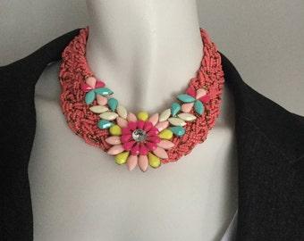 PRICE DROP -PINK bib necklace by ashley3535