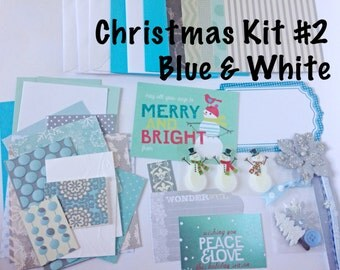 Christmas Card Making Kit - Blue and White Themed Kit, Kid's Card Making Kit, DIY Card Making Kit, Children's Christmas Activity Kit