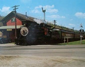Steam train at Chester Depot. Vintage postcard unused. Green Mountain Railway. Bellows Falls, Vermont.