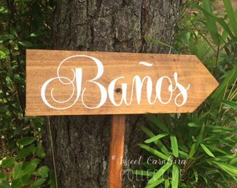 Spanish Wood Wedding Sign - Restrooms Sign - Banos Sign - Bathroom Sign - Spanish Sign - Custom Wooden Wedding Sign - WS-225