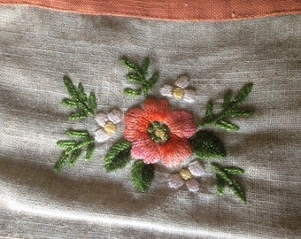 Beautiful Hand Embroidered Vintage Apron, Beige with muted Orange Check and Floral Embroidery