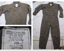 Vintage Retro Men's Flight Suit 27/P Military Issue Army Air Force Olive Drab Green Jumpsuit 44 R XL Made in the USA