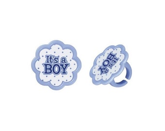 It's A Boy Cupcake Topper Party Favor Rings - Baking and Cake Decorating