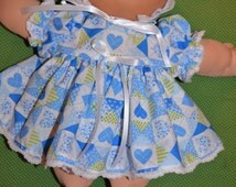 """14"""" Vintage Preemie Cabbage Patch Doll Clothes only country hearts dress bloomers + Bonnet,Cabbage Patch preemie,handmade,doll clothes,heart"""