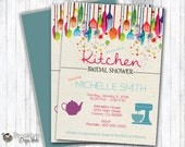 Kitchen Bridal Shower Invitation - Custom Designed - Digital File or Printed Invitations - Kitchen themed bridal shower party invitation