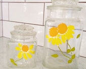 1970s Lidded Canister, Retro Glass Canister Set, Yellow Daisy Canister, Mid Century Canisters