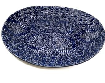 Blue Platter, Ceramic Oval Platter, Hostess Gift, Blue Kitchen Décor, Large Serving Dish, Ceramic Serving Tray, Party Platter, Blue Pottery