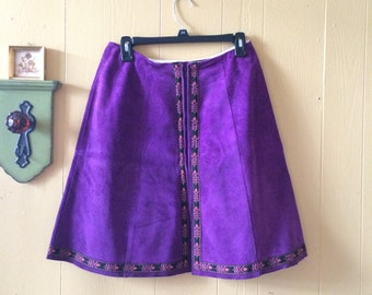 60s Purple Suede Skirt