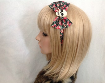 Rose skull headband hair bow rockabilly psychobilly sugar gothic floral black pink Lolita cute pin up skeleton red accessories punk