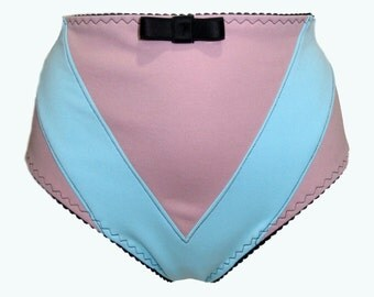 MARALYN High Waist Knickers in blue and pink tones, handmade to order.