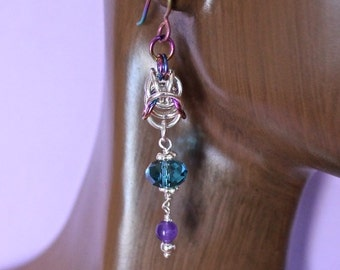 Sterling Silver and Rainbow Niobium Chainmaille Crystal Dangle Earrings