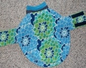 """Reserved for Candi: Reversible Fleece Dog Coat, Floral Mosaic, size medium (20+ lbs., 23-24"""" girth"""