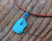 Urban Beach Glass Two Tone Blue Drilled Leather Necklace - Leather Cord - Bronze -