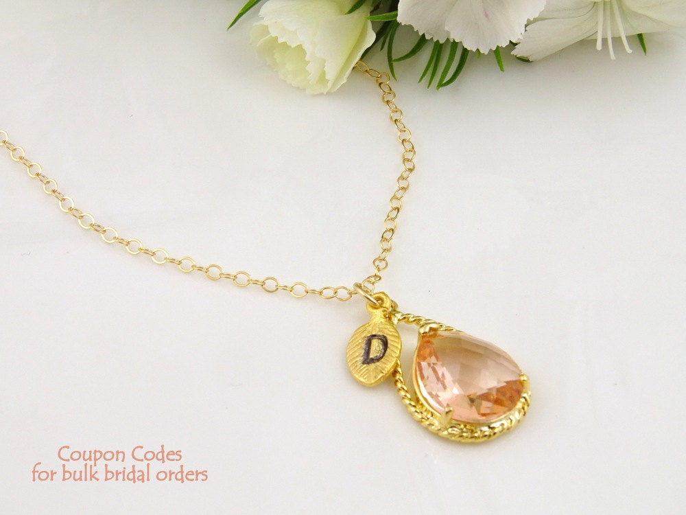 Wedding Gift Necklace : Champagne Necklace Peach Wedding Gift for Bride by Crystalshadow