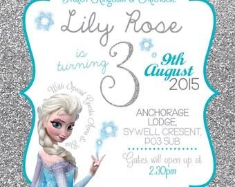 Disney Frozen birthday invitation Queen Elsa Anna Glitter Snowflake Princess