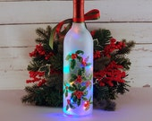 Hand painted Christmas holly wine bottle light