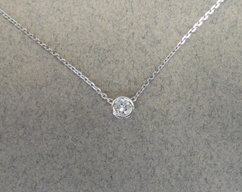 Diamond 0.07ct Pendant/ White Gold 14k 0.07ct Solitaire Diamond Bezel Set Necklace SI1 G-H Color/  Solitaire Diamond 14k White Gold Necklace