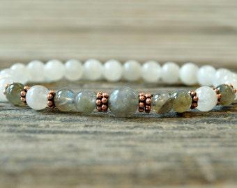 Moonstone Bracelet, Labradorite Bracelet, Yoga Bracelet, Meditation Bracelet, Energy Bracelet, Crystal Healing Bracelet, New Beginnings
