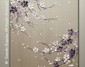 CUSTOM ORDER Original Acrylic Impasto Modern Abstract  Painting on  Gallery wrapped Canvas 18 x 24 Home Decor,--- Purple Cherry Blossoms---