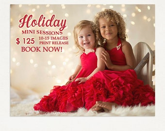 Holiday Mini Session Template - Photography Marketing Board - Holiday Minis - Photoshop Template 025 - ID268, Instant Download