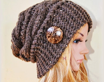 Slouchy beanie hat with button-BARLEY TWEED (or Choose Color) Paypal FREESHIPPING- Cable mix style -Oversized -chunky -handmade -baggy -gift