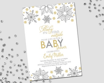 Baby It's Cold Outside Baby Shower Invitation - Holiday Baby Shower - Snowflakes - Gray Gold and White - Printable