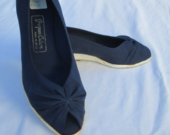 1970s Jacques Cohen Navy Espadrilles - size 6 - New Old Stock