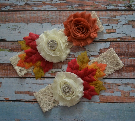 Items Similar To Wedding Garter Fall Wedding Garter Set Unique Rustic Garter Belt Autumn