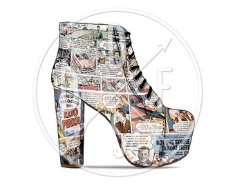 A0030 - Retro Comics Lita Boots Jeffrey Campbell - Digital Print for Instant Download. Printable Illustration. PNG, JPG files 8x10''.